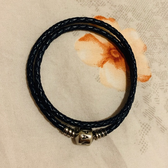 Pandora Double Woven Leather Bracelet - Dark blue